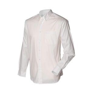 Henbury Mens langermet Oxford arbeid skjorte Hvit 20