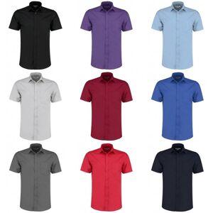 Kustom Kit Kustom orientert Kit Mens kort ermet skreddersydd Poplin skjorte Claret 17.5