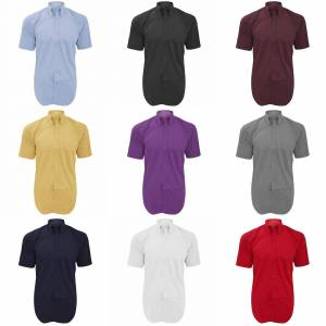 Kustom Kit Kustom orientert Kit Mens kort ermet Corporate Oxford skjorte Lys blå 16inch