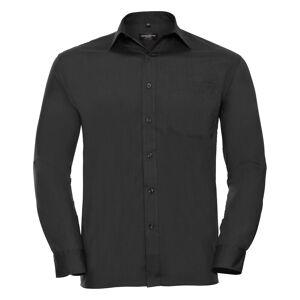 Russell samling Mens lang ermet skjorte Svart 18.5