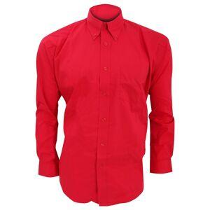 Kustom Kit Kustom orientert Kit Mens langermet Corporate Oxford skjorte Rød 22inch