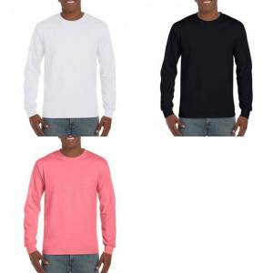 Gildan Mens Hammer tungvekt langermet t-skjorte Coral Silk 5XL