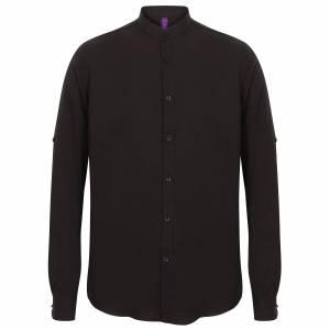 Henbury Mens Mandarin skjorte med Roll-Tab ermer Svart 2XL