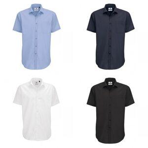 B&C B & C Mens Smart kort ermet skjorte / menns skjorter Mørkerød XL