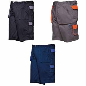 Portwest Mens kontrast Workwear Shorts Svart M