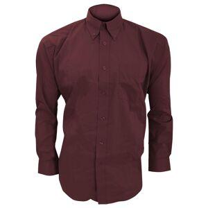 Kustom Kit Kustom orientert Kit Mens langermet Corporate Oxford skjorte Burgund 16.5inch