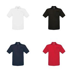 B&C B & C Mens Safran ren kort ermet Polo skjorte med lomme Svart XL