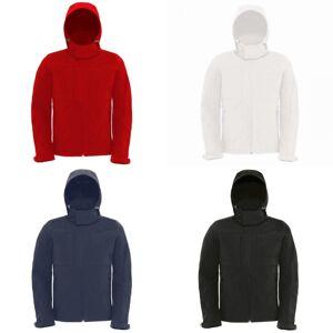 B&C B & C Mens hette Softshell pustende, vanntett & vindtett jakke (fleecefôr) Hvit XL