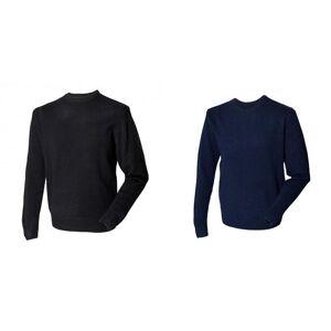 Henbury Mens Crew hals 100% Lambswool Woolmark® genser / Sweatshirt Svart S