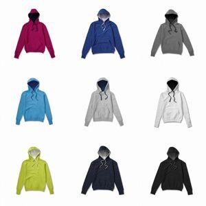 SG Mens kontrast hette genser / Hettegenser Royal/lys Oxford XL