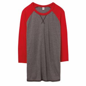 Alternative Apparel Alternative klær Mens Dugout Vintage 50/50 t-skjorte Vintage kull/rød 2XL