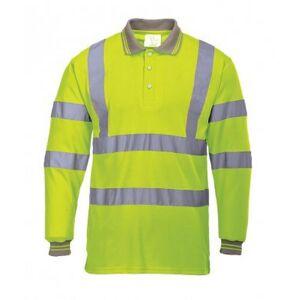 Portwest Mens Hi-Vis lang ermet Polo skjorte Gul L