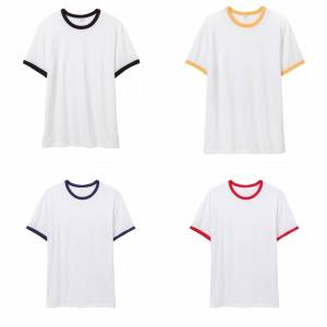 Alternative Apparel mens 50/50 vintage Jersey ringer T-skjorte White/Navy 2XL