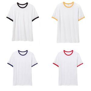 Alternative Apparel mens 50/50 vintage Jersey ringer T-skjorte Hvit/svart 2XL