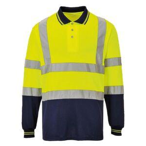Portwest Mens Hi-Vis tofarget lang ermet Polo skjorte Gul / Navy 3XL