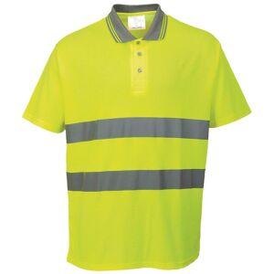 Portwest bomull komfort reflekterende sikkerhet kort ermet Polo skjorte Gul XL