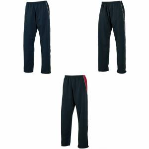 Tombo Teamsport Mens åpne Hem foret mikro Fleece trening bukser / Jogging Bottoms (Showerproof/vindtett) Navy/Navy/hvit rør S