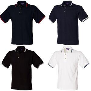Henbury Mens Classic tippet krage & mansjett Polo skjorte Hvit Navy tipping S