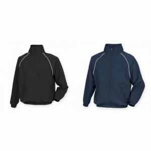 Tombo Mens Teamsport Start linjen sport trening Track Jacket Svart / hvit rør 2XL