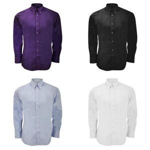 Kustom Kit Kustom orientert Kit Mens lang ermet skreddersydd passform Premium Oxford skjorte Mørk lilla 14.5inch