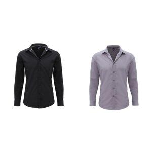 Premier Mens lang ermet utstyrt fredag skjorte Svart XL