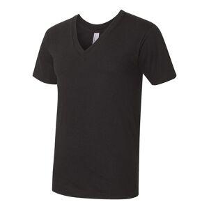 American Apparel Mens Fine Jersey V hals Tee Svart XL