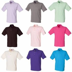 Henbury Mens Classic ren Polo skjorte med stå opp krage Rosa L