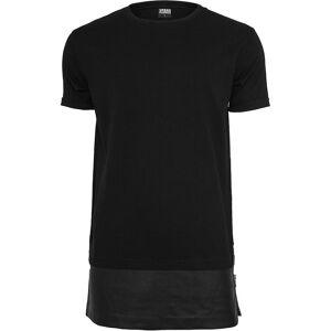 Urban Classics menns T-skjorte lang zippet Lær imitasjon nederst