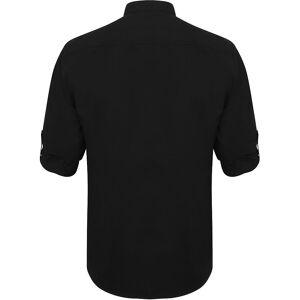 Henbury Mens Mandarin skjorte med Roll-Tab ermer Svart XL