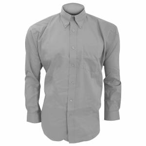 Kustom Kit Kustom orientert Kit Mens langermet Corporate Oxford skjorte Sølvgrå 18.5inch