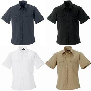 Russell samling Mens kort / Roll-ermet arbeid skjorte Hvit L