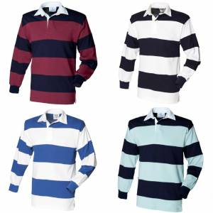 Front Row sydd Stripe langermet sport Rugby Polo skjorte Duck Egg/Navy XL
