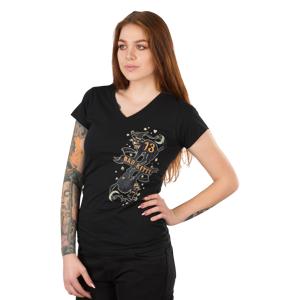 Lucky 13 T-Skjorte Dame Lucky 13 Bad Kitty V-Hals Svart