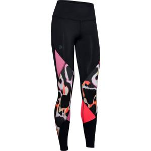 Under Armour Rush Print Color Block Tights Dame - Sort