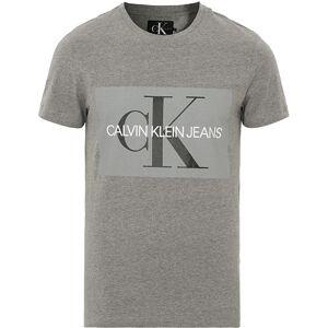 Calvin Klein Jeans Basic Monogram Box Logo Crew Neck Tee Grey Heather