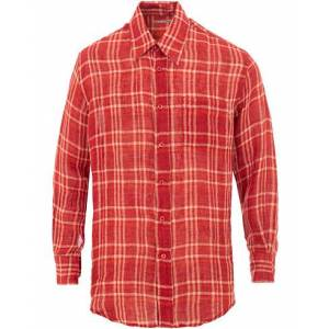Our Legacy Less Borrowed Linen Check Shirt Red