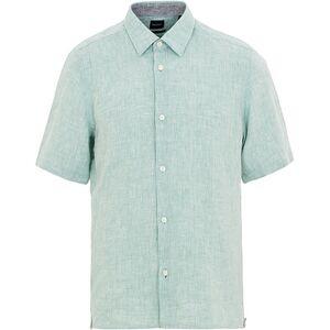 Boss Lukka Linen Short Sleeve Shirt Green