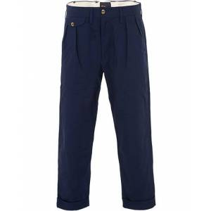 The Workers Club Pleated Turn Up Cropped Chinos Navy
