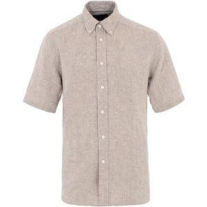 Eton Slim Fit Linen Short Sleeve Shirt Light Brown
