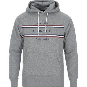 GANT Stripe Sweat Hoodie Grey Melange