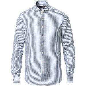 Stenströms Slimline Striped Fullspread Linen Shirt Blue/White