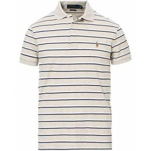 Polo Ralph Lauren Slim Fit Luxury Pima Cotton Stripe Polo Grey