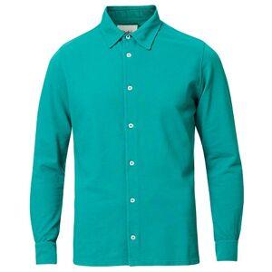 Drake's Long Sleeve Pique Shirt Emerald Green