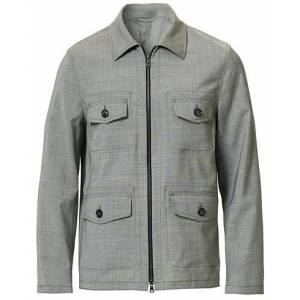 Oscar Jacobson Raf Wool Zip Shirt Jacket Light Grey
