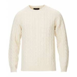BEAMS PLUS Crew Neck Cable Sweater White
