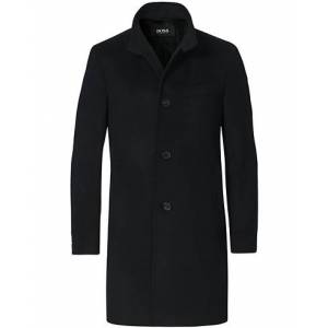 Boss Hyde Wool/Cashmere Stand Up Collar Coat Black