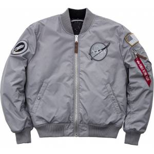 Alpha Industries MA-1 VF NASA RP Jakke Svart Sølv S