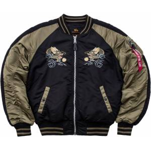 Alpha Industries Japan Dragon Jakke Svart Grønn 3XL