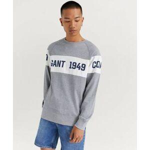 Gant Sweatshirt Gant Chest Stripe C Neck Grå