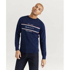 Gant Sweatshirt D1. GANT Stripe C-Neck Sweat Blå